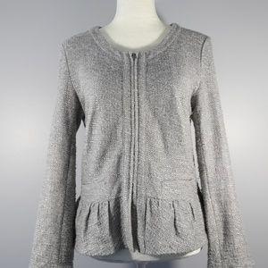 J. Crew Gray Boucle Peplum Blazer/Jacket/Sweater M